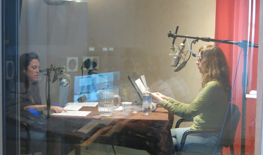 A peek into the sound booth as Cheryl interviews Laurie.