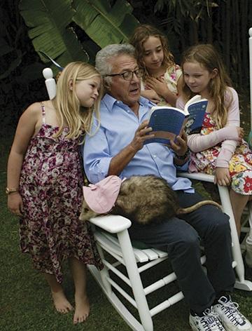 Dustin Hoffman making new friends. (Yes, that's a real possum on his lap.)