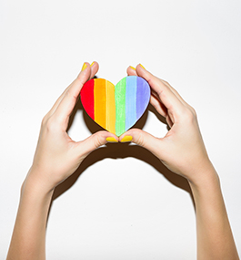 pride heart with hands