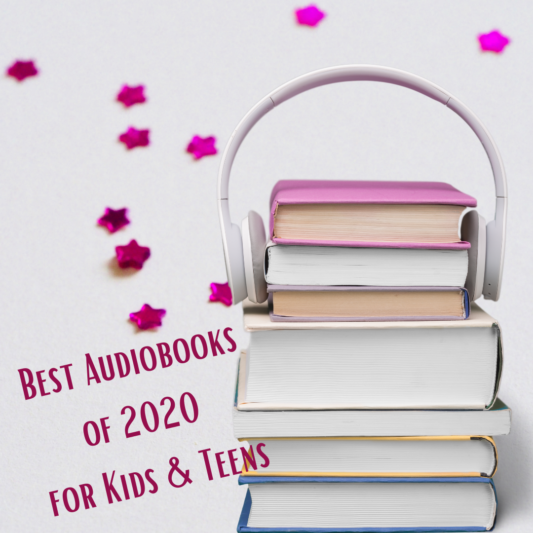 Books with headphones and stars